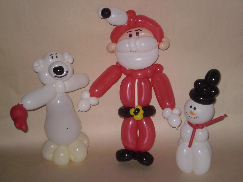 Ballontier Eisbar aus 5 Ballons, Luftballonfigur Weihnachtsmann aus 6 Luftballons, Ballonfigur Schneemann aus 4 Ballons